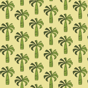 Hawaiian Vintage Palm Tree - Olive and Yellow