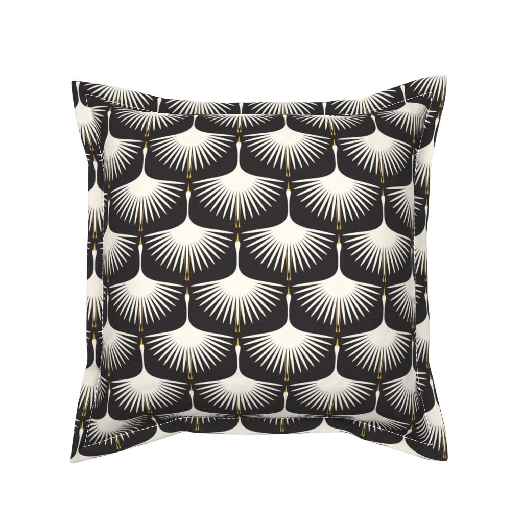Serama Throw Pillow featuring Art Deco Swans - Cream on Black by katerhees