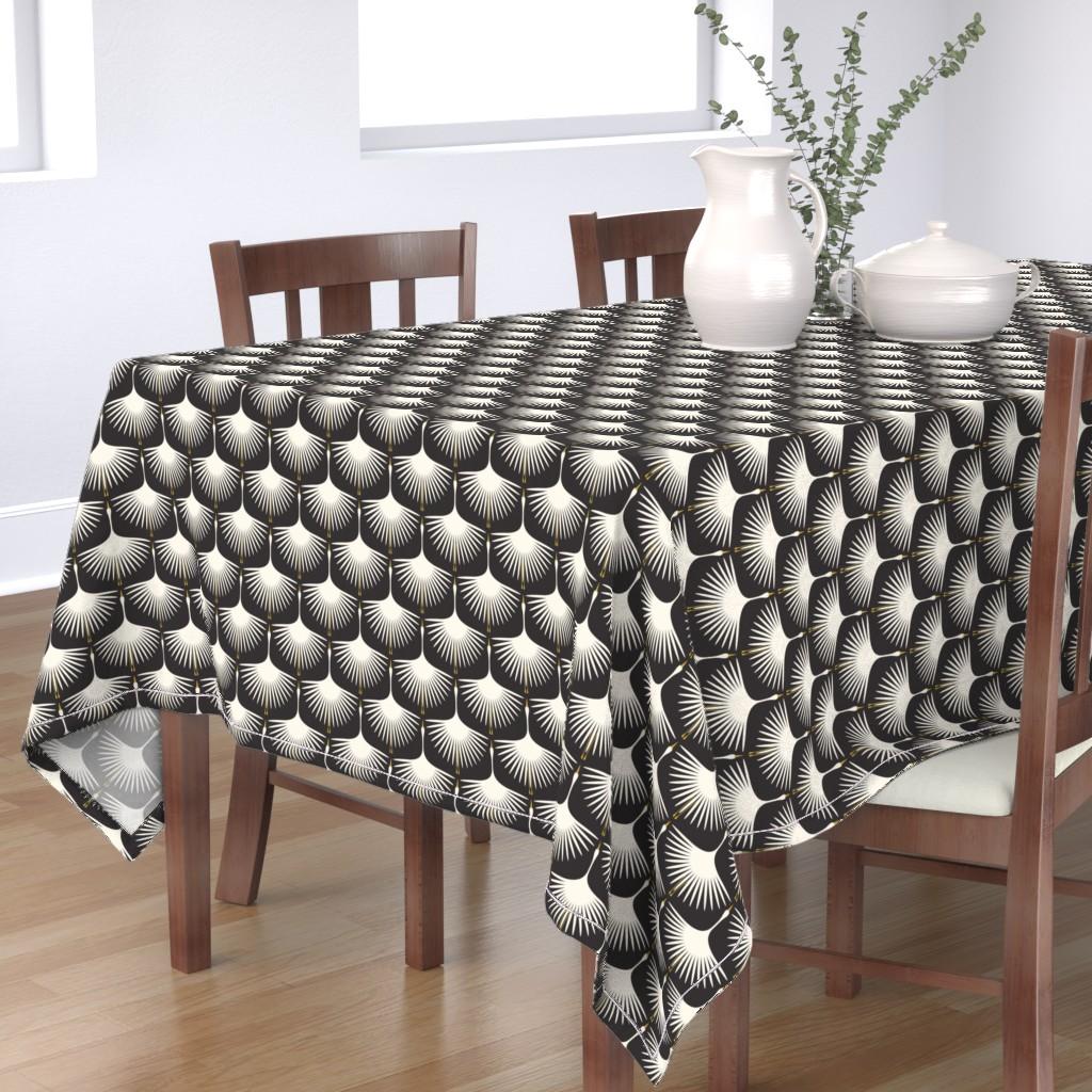 Bantam Rectangular Tablecloth featuring Art Deco Swans - Cream on Black by katerhees
