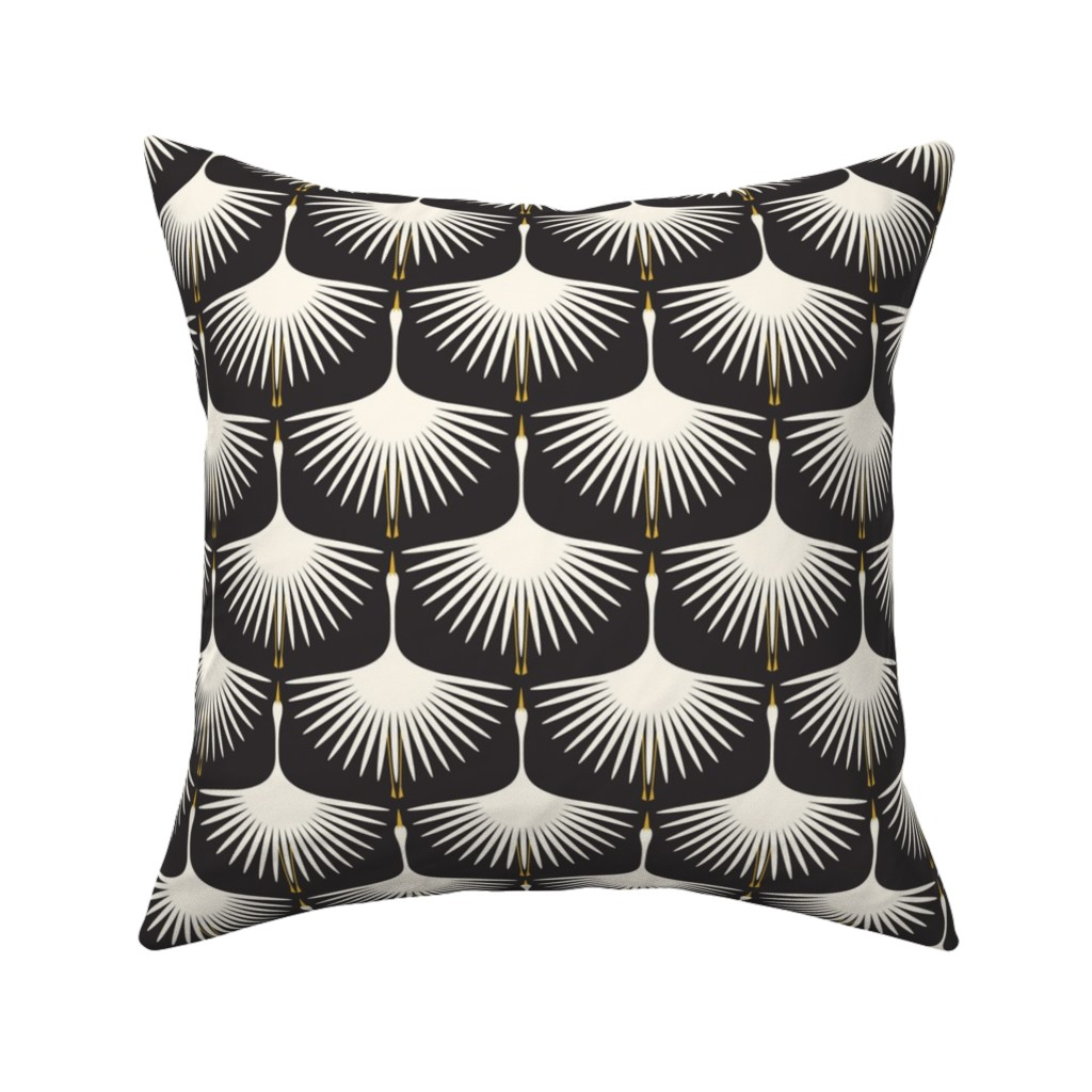 Catalan Throw Pillow featuring Art Deco Swans - Cream on Black by katerhees