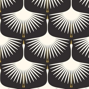 Art Deco Swans - Cream on Black