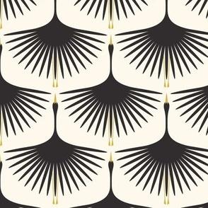 "Art Deco Swans - Black on Cream - 4.25"" Fabric, 6"" Wallpaper"