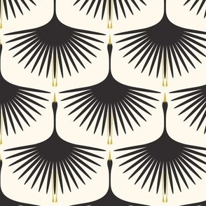 Art Deco Swans - Black on Cream