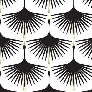 Art Deco Swans - Black on White