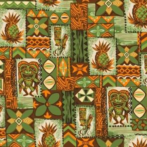 Hawaiian Pineapple Tiki Tapa - Olive Green