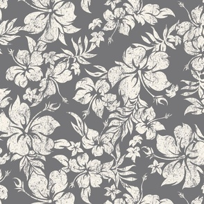 Distressed Hawaiian Hibiscus Floral - Charcoal