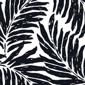 Giant Illustrated Palm Leaves - Black and White