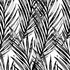 Watercolor Hawaiian Palms - Black and White