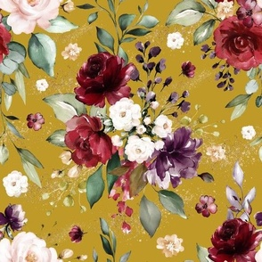 Golden Watercolour Mustard Floral