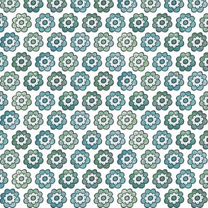 Small Boho Floral - muted blue/green