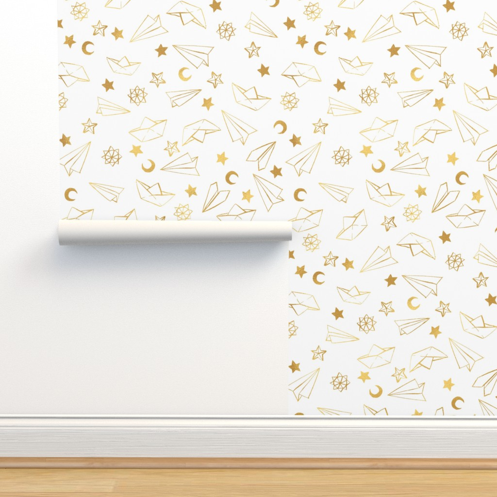 Isobar Durable Wallpaper featuring Paper Planes and Boats {White}  by ceciliamok