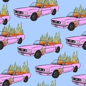 Burning Mustang // Pink Car on Blue
