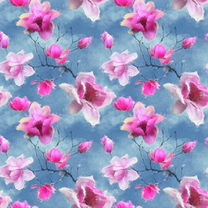 Magnolia paradise - sunny skies and fuchsia pink flowers