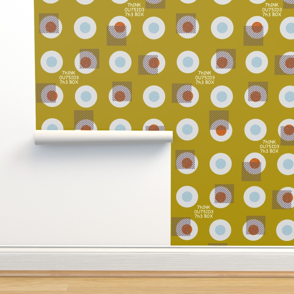Isobar Durable Wallpaper featuring 7h1NK 0U75ID3 7h3 BOX by ottomanbrim
