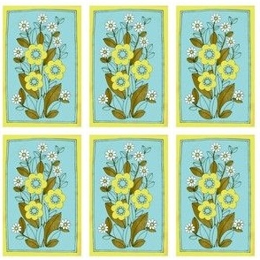 miniature turquoise green retro flower canvas-ch