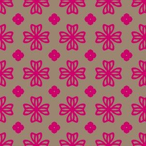 pink floral medallions on grey copy