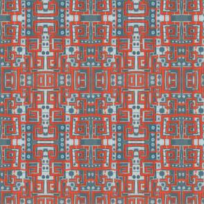 Orange Grey Meanders Pattern