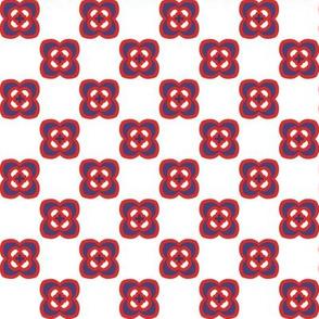 Checkerboard mod flower - purple on white