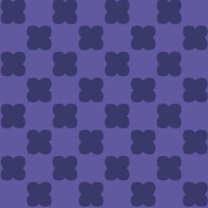 Checkerboard mod flower  - navy