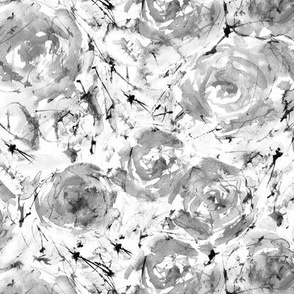 Watercolor roses in shades of grey || floral pattern for home decor