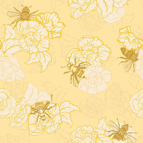 Honey Yellow Bees with Florals.