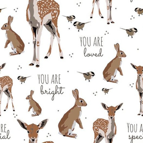 Woodland animal affirmations in white