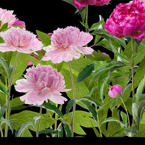 "Peony border oil painting 72"" repeat with hem border at bottom"