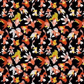 Goldfishes on black