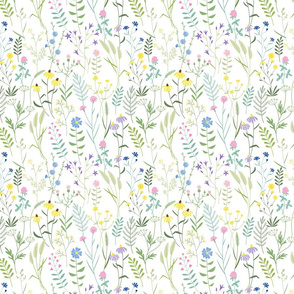 Simple graphic wild flowers on white