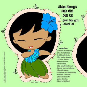 Hula Girl Doll Kit and Pattern - Turquoise Blue