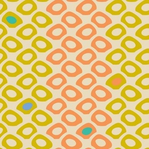 Cool Dots Vintage Retro Yellow Orange Blue  Green