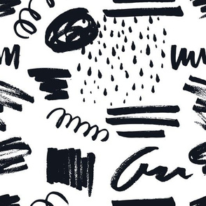 Black and White Doodles - Freehand Shapes