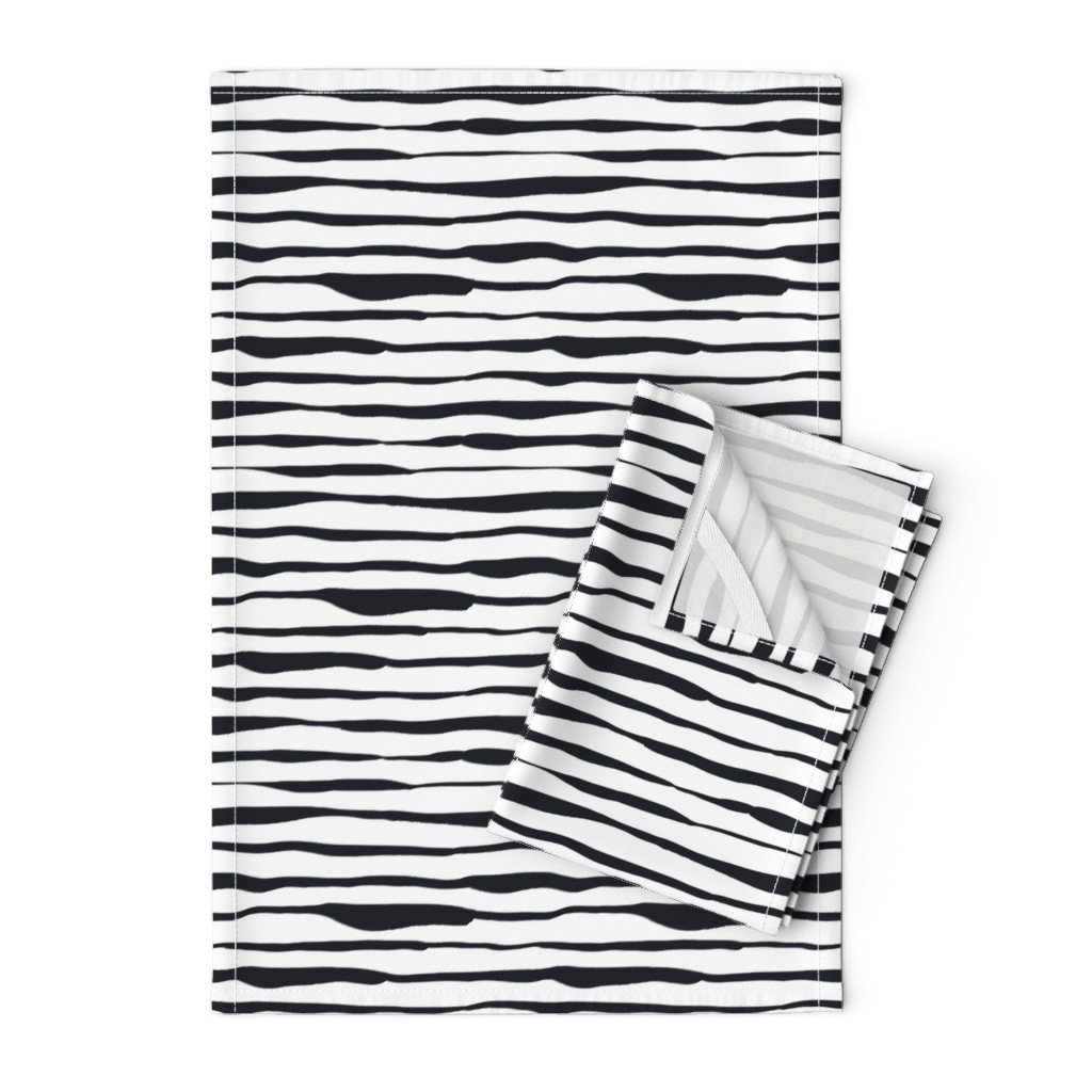 Orpington Tea Towels featuring Black and White Doodles - Uneven Stripes by anastasiia_macaluso