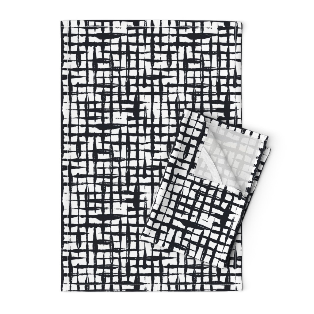 Orpington Tea Towels featuring Black and White Doodles - Small Checkered by anastasiia_macaluso