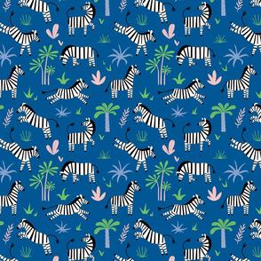 Zebras on the blue background