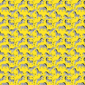 Zebras on yellow background