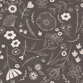 gray folk floral