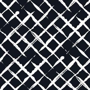 Black and White Doodles - White Checkered
