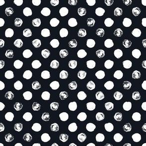 Black and White Doodles - White Polka Dot