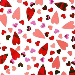 LOVE - Scattered Hearts - White