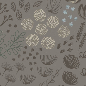Moody Mod Floral M+M Ash77 Large Scale by Friztin