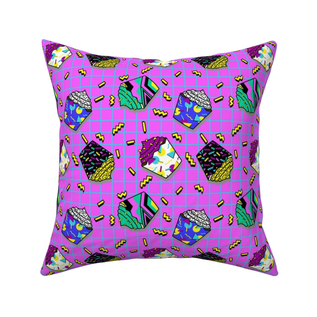 Catalan Throw Pillow featuring 80s cupcakes pink by b0rwear