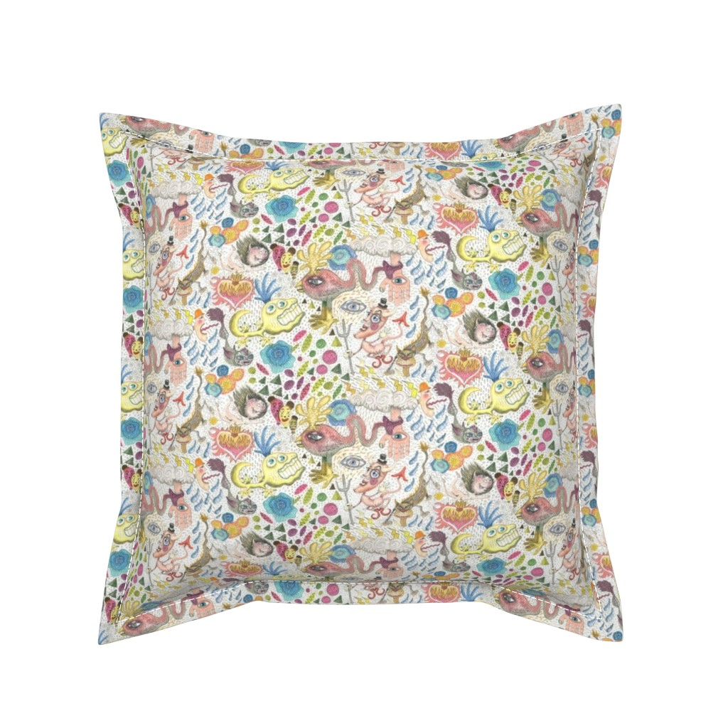 Serama Throw Pillow featuring maximalism maximalist pastel pencil surreal fantasy art by amy_g