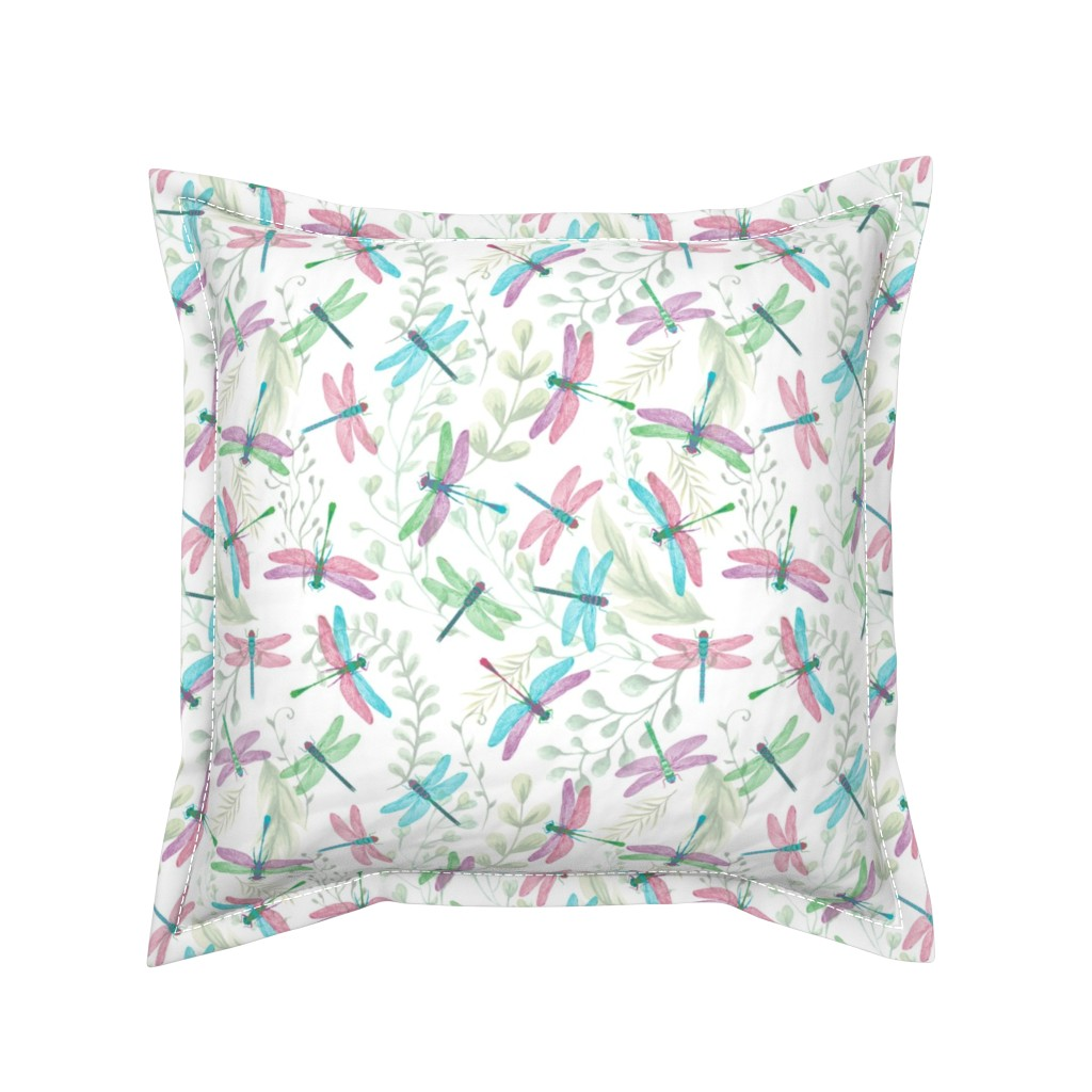 Serama Throw Pillow featuring Bright colorful Dragonflies by tiffanyaryee