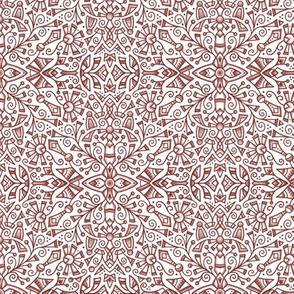 Red Modern Doodle Medallion (small 6)