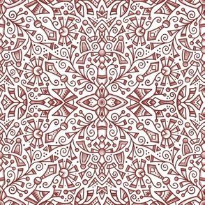 Red Modern Doodle Medallion (med 9)