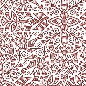 Red Modern Doodle Medallion (large 12)