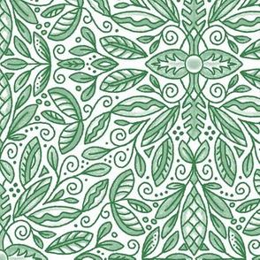 """Green Leaf Doodle Medallion (large 12"""")"""
