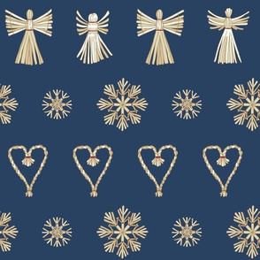 Christmas Straw Ornaments on blue.