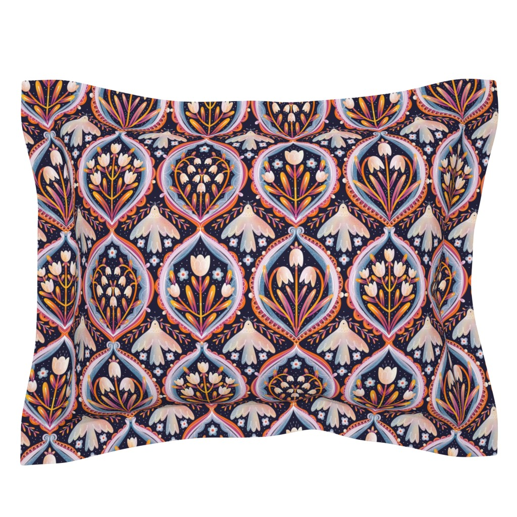 Sebright Pillow Sham featuring Modern floral ornament pattern by stolenpencil